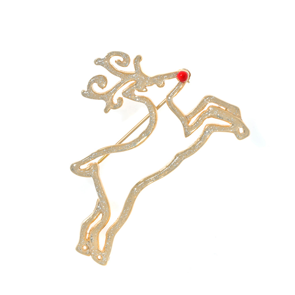 Gold Tone Stardust Reindeer Pin
