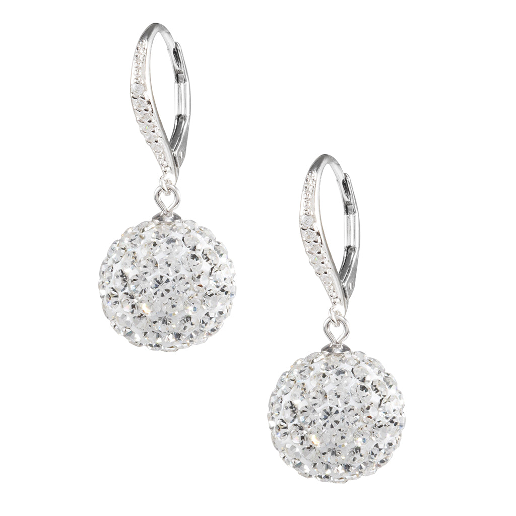 Sterling Silver 14MM Crystal Ball Drop Earrings