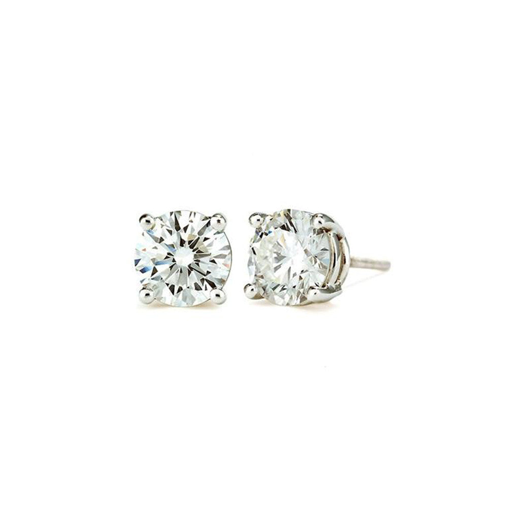 4 CT 14K White Gold Round Cut Stud Earrings