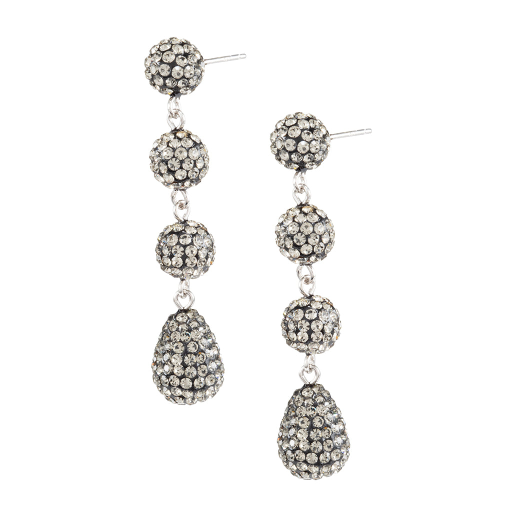 Sterling Silver Black Crystal Ball Triple Drop Earrings