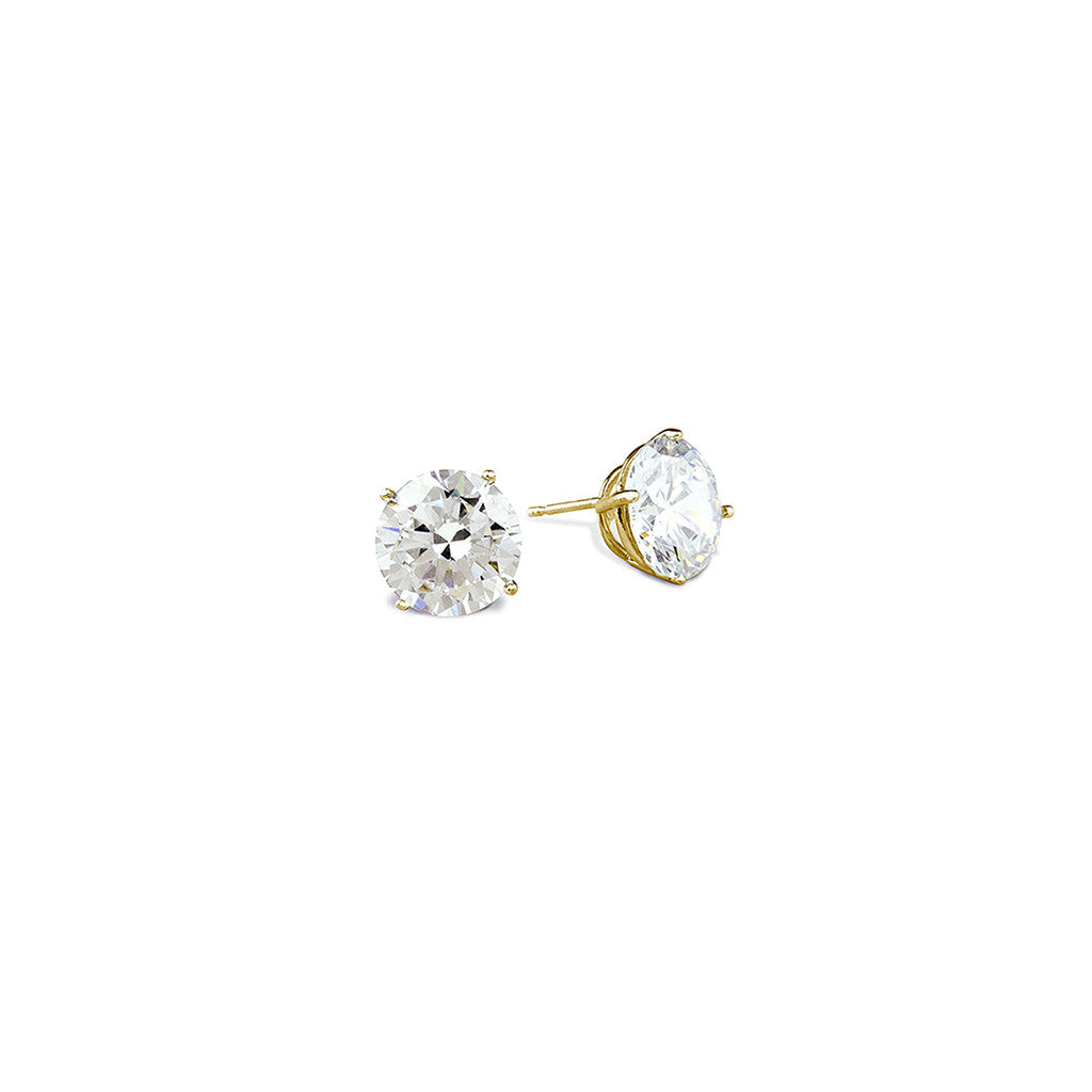 .5 CT 14K Yellow Gold Round Cut Stud Earrings