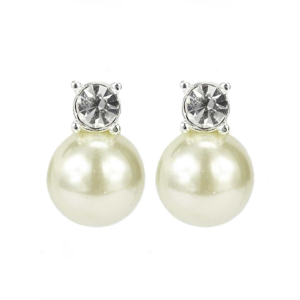 Silvertone Pearl/Crystal Stud Earrings