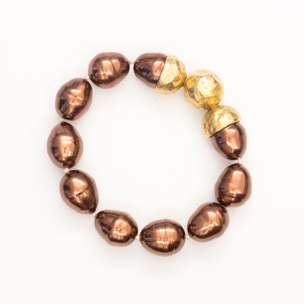 Goldtone 14mm Brown Baroque Pearl Bracelet