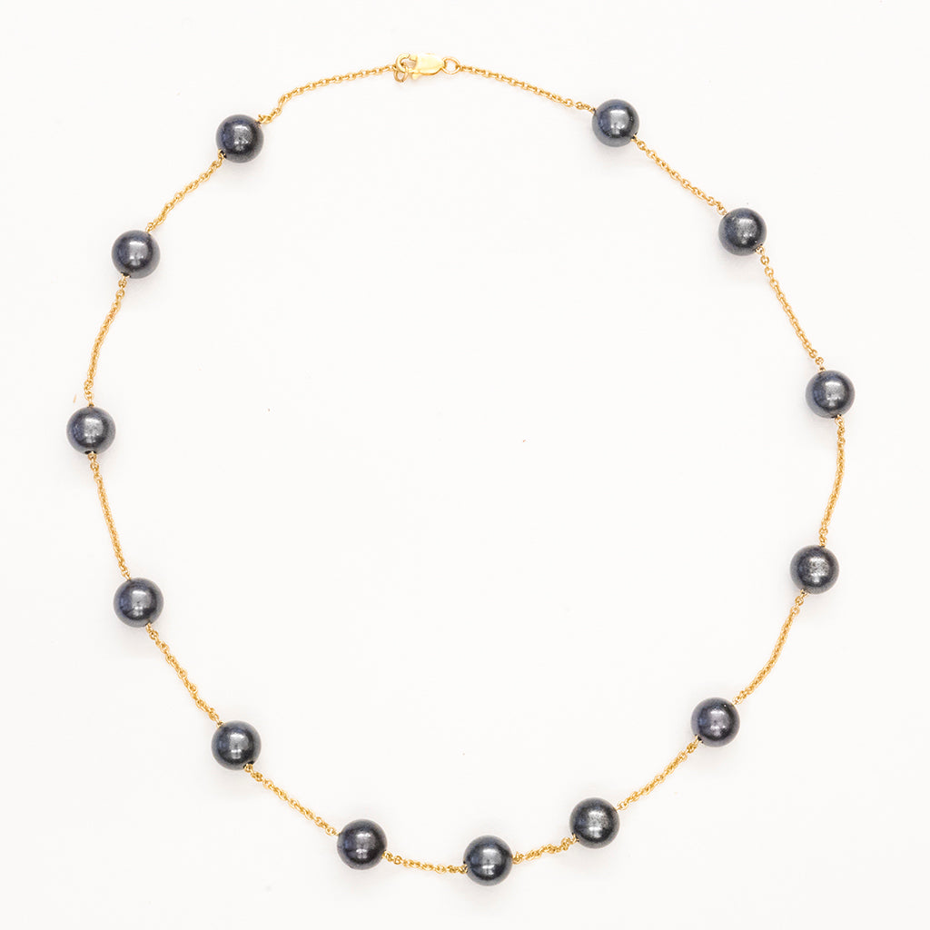 14k chain and Grey Pearl necklace