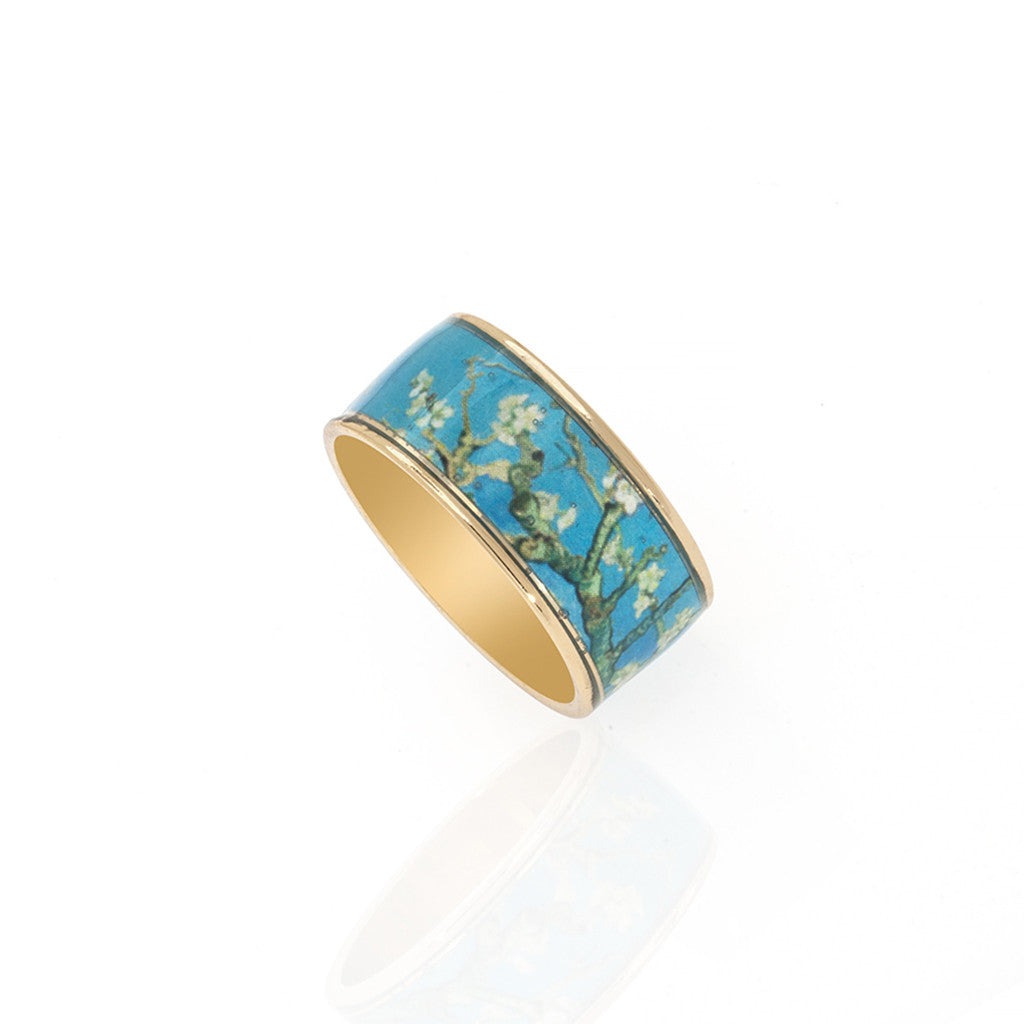 Van Gogh Almond Blossoms Goldtone Ring
