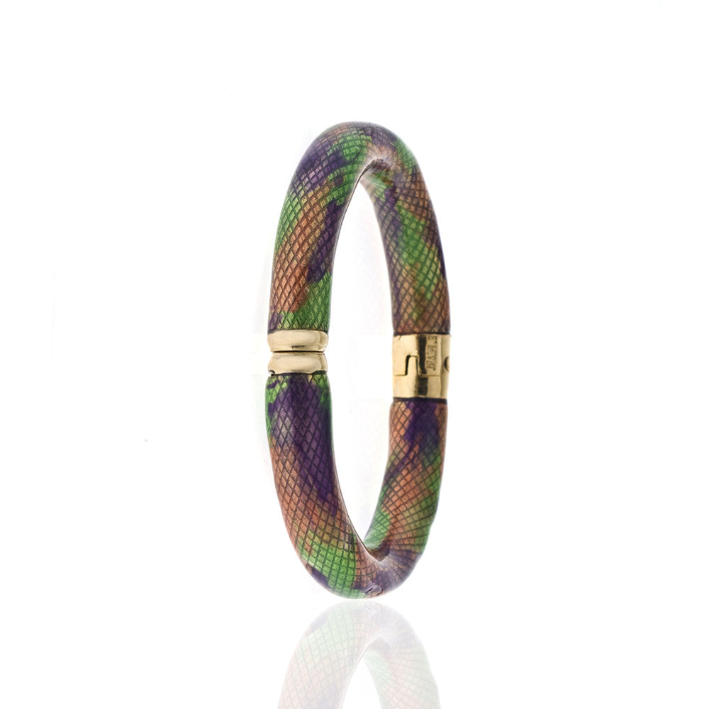 Snakeskin Gold Tone Multi Color Clear/Green/Purple/Orange Bangle Bracelet