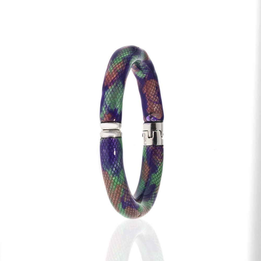 Snakeskin Silver Tone Multi Color Clear/Green/Purple/Orange Bangle Bracelet