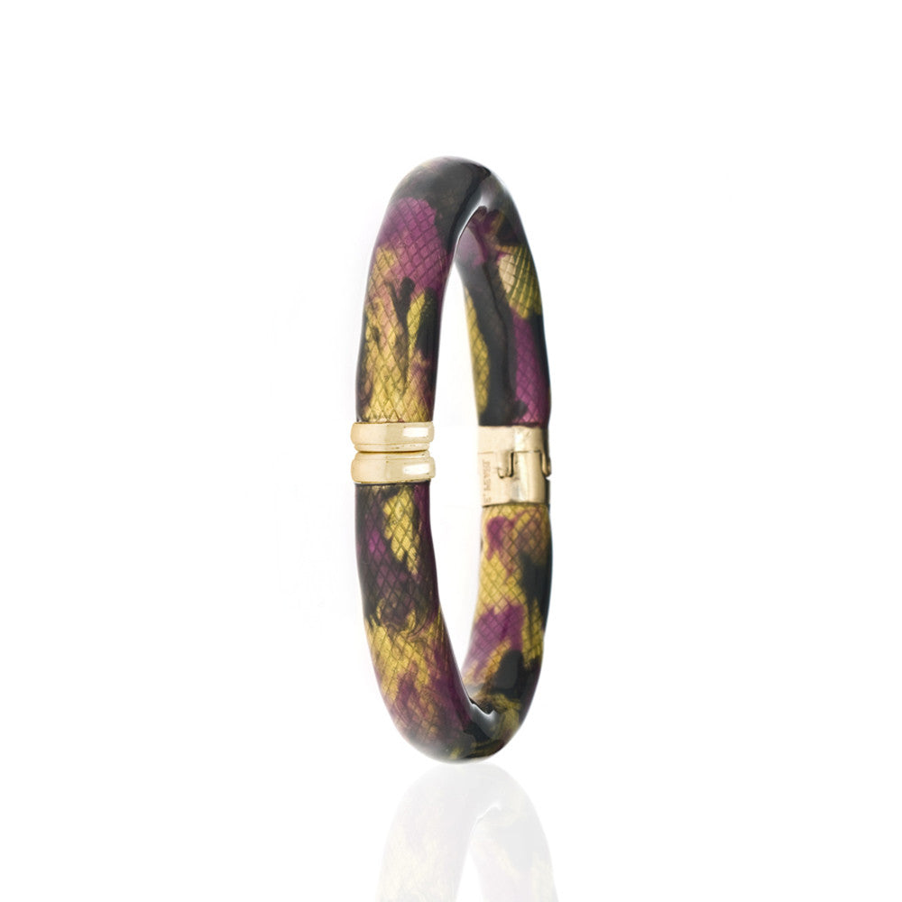 Snakeskin Gold Tone Multi Color-Clear/ Amethyst/Mustard Bangle Bracelet