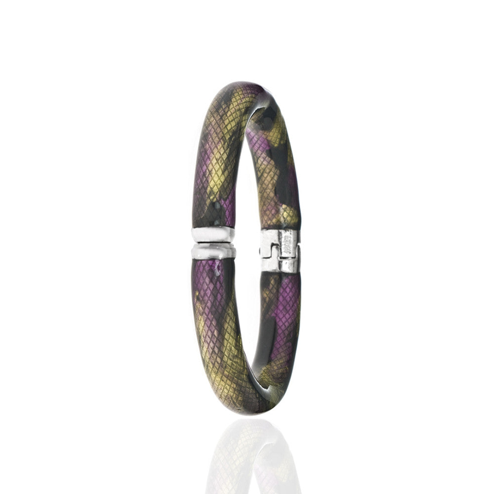 Snakeskin Silver Tone Multi Color-Clear/ Amethyst/Mustard Bangle Bracelet