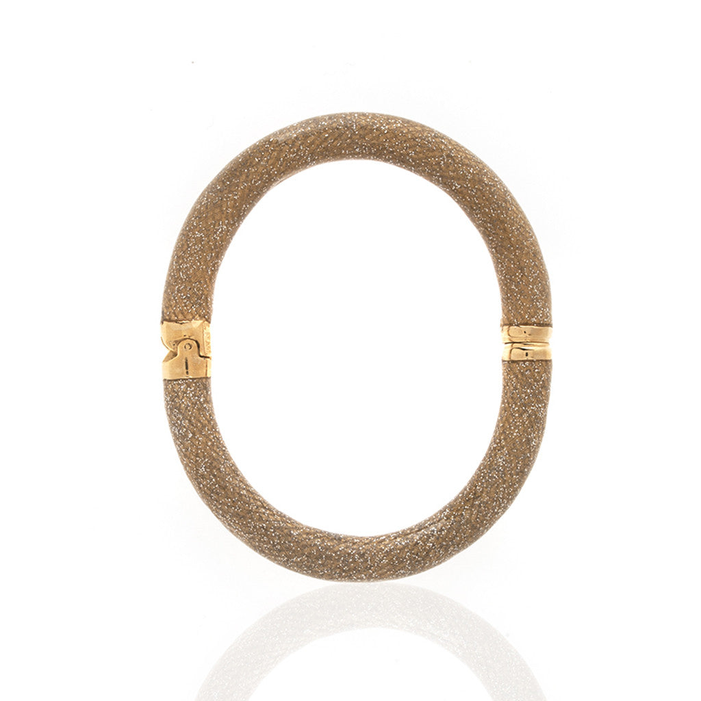 Snakeskin Goldtone Stardust Bangle Bracelet Large