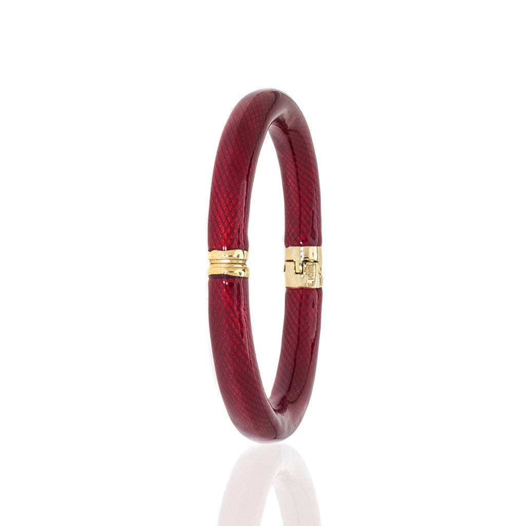 Red Enamel Snakeskin Bangle Bracelet-(LARGE)