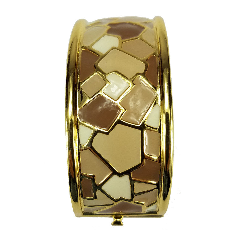 Italian Riviera Beige Mix Hinged Bangle Goldtone