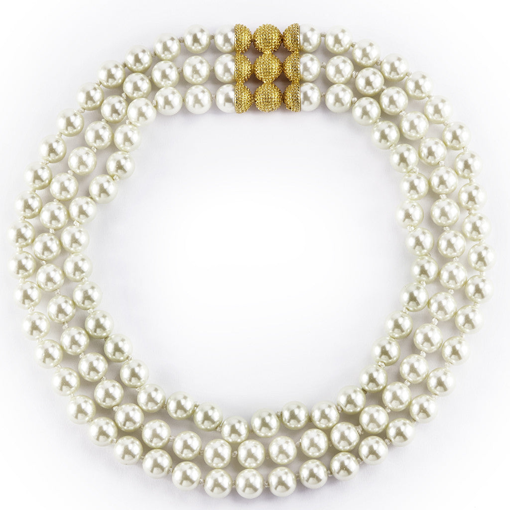 10MM Triple Row Kiska Pearl 16""