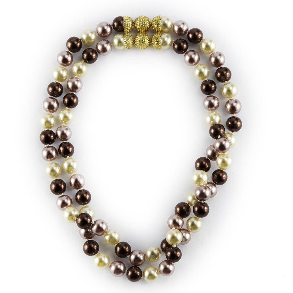 10MM Double Row Brown Mix Necklace 16""