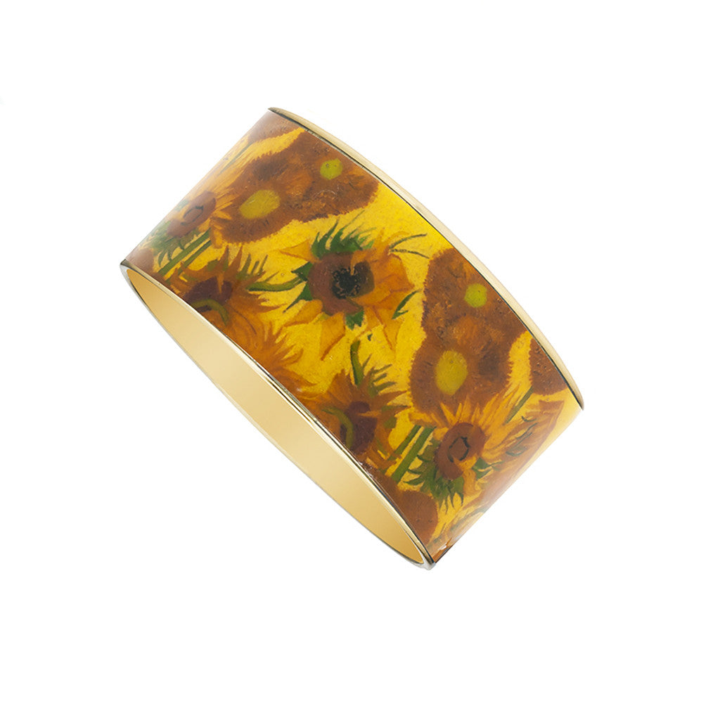Van Gogh Sunflowers Goldtone Bangle Bracelet 1 1/2""