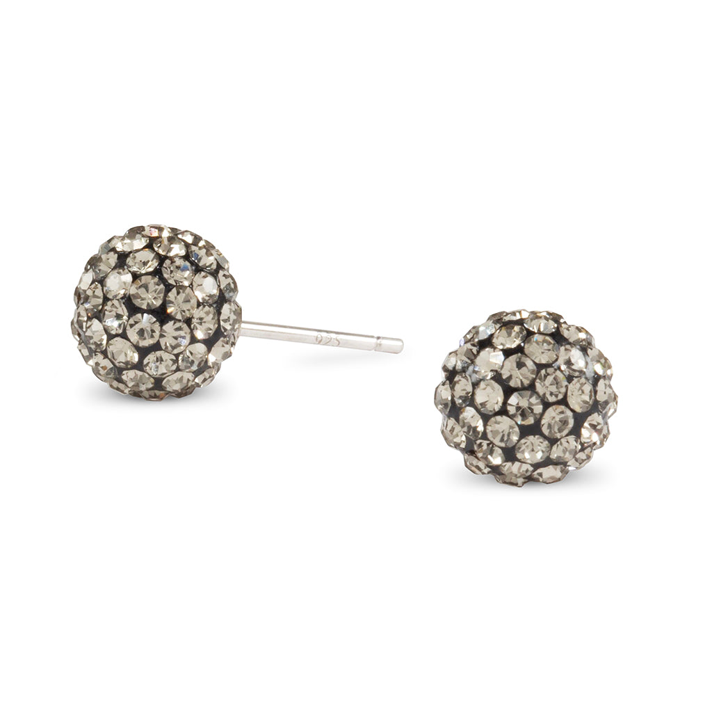 Black Crystal Ball Stud Earrings