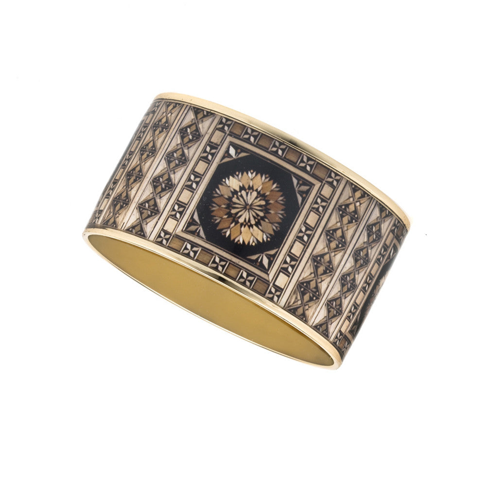 MAYA Russian Marquetry Bangle Bracelet 1 1/2""