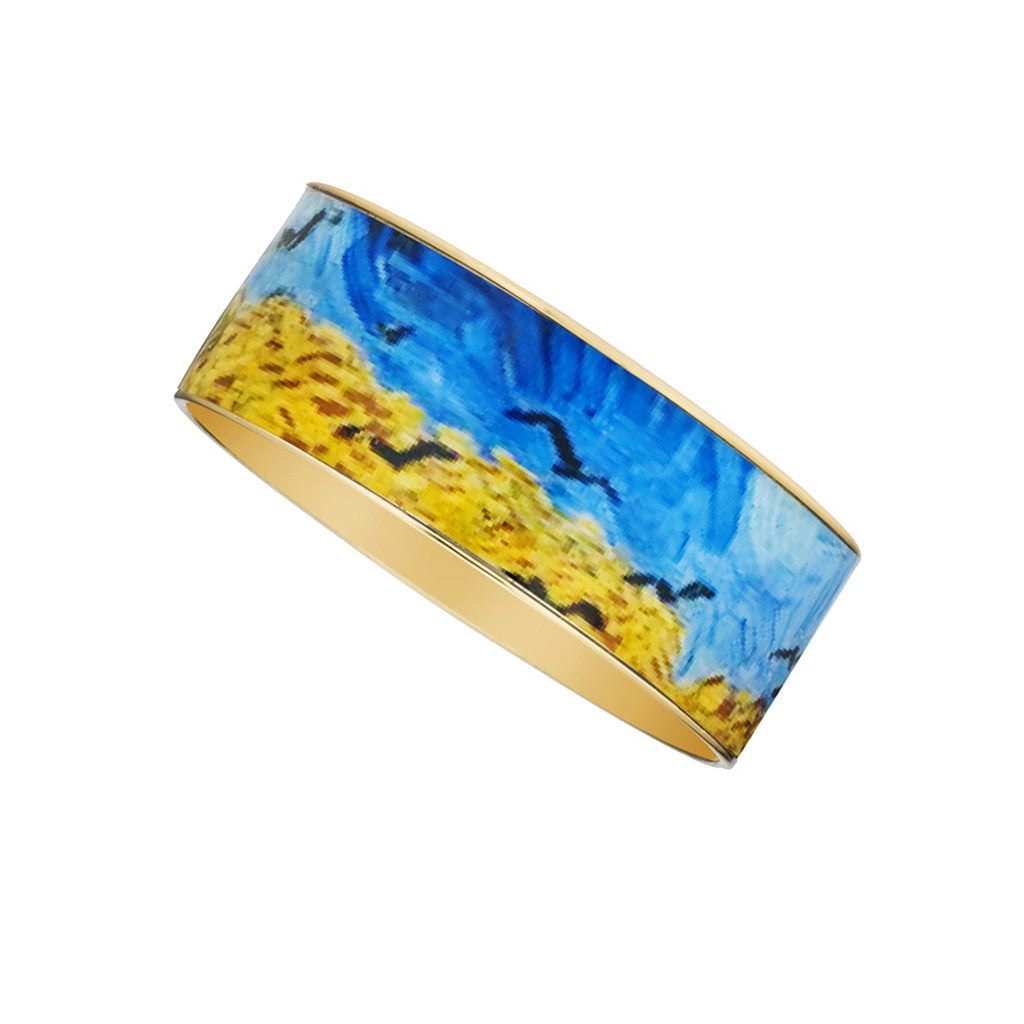Van Gogh Wheatfield with Crows Goldtone Bangle Bracelet 1""