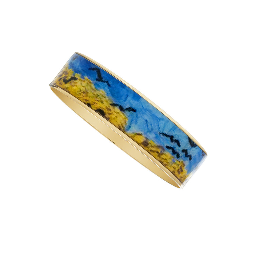 Van Gogh Wheatfield with Crows Goldtone Bangle Bracelet 3/4""