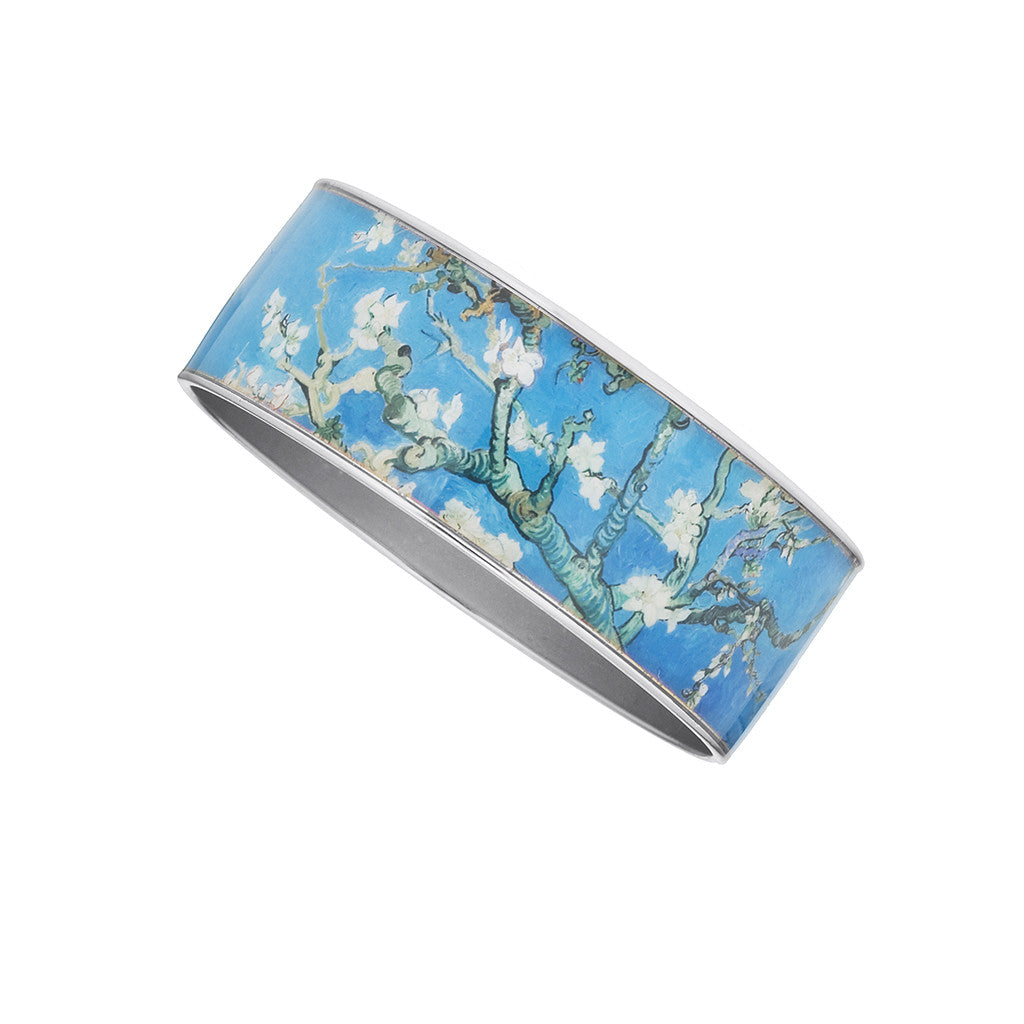 "Van Gogh Silvertone 1"" Almond Blossom Bangle"