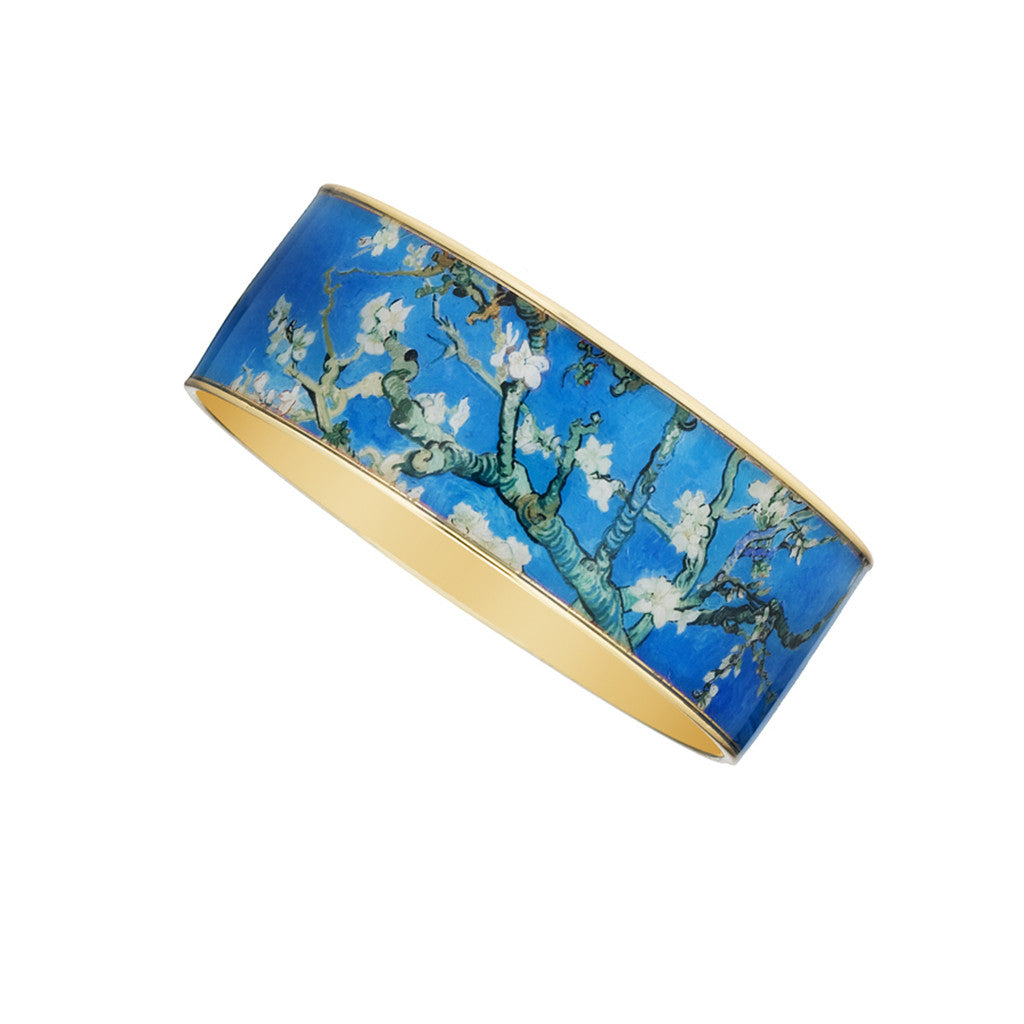 Goldtone Van Gogh Almond Blossoms Bangle Bracelet 1""