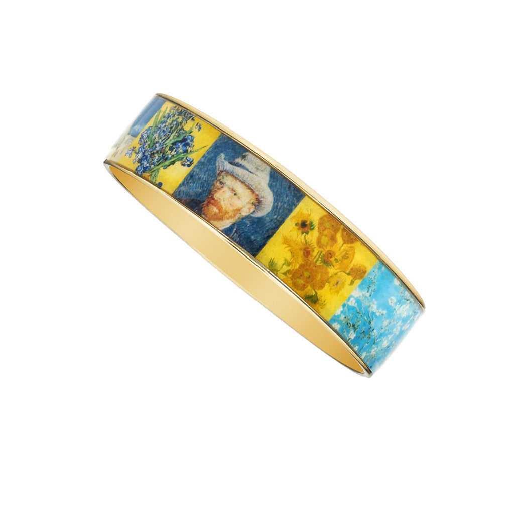 Van Gogh Collage Goldtone Bangle Bracelet 3/4""