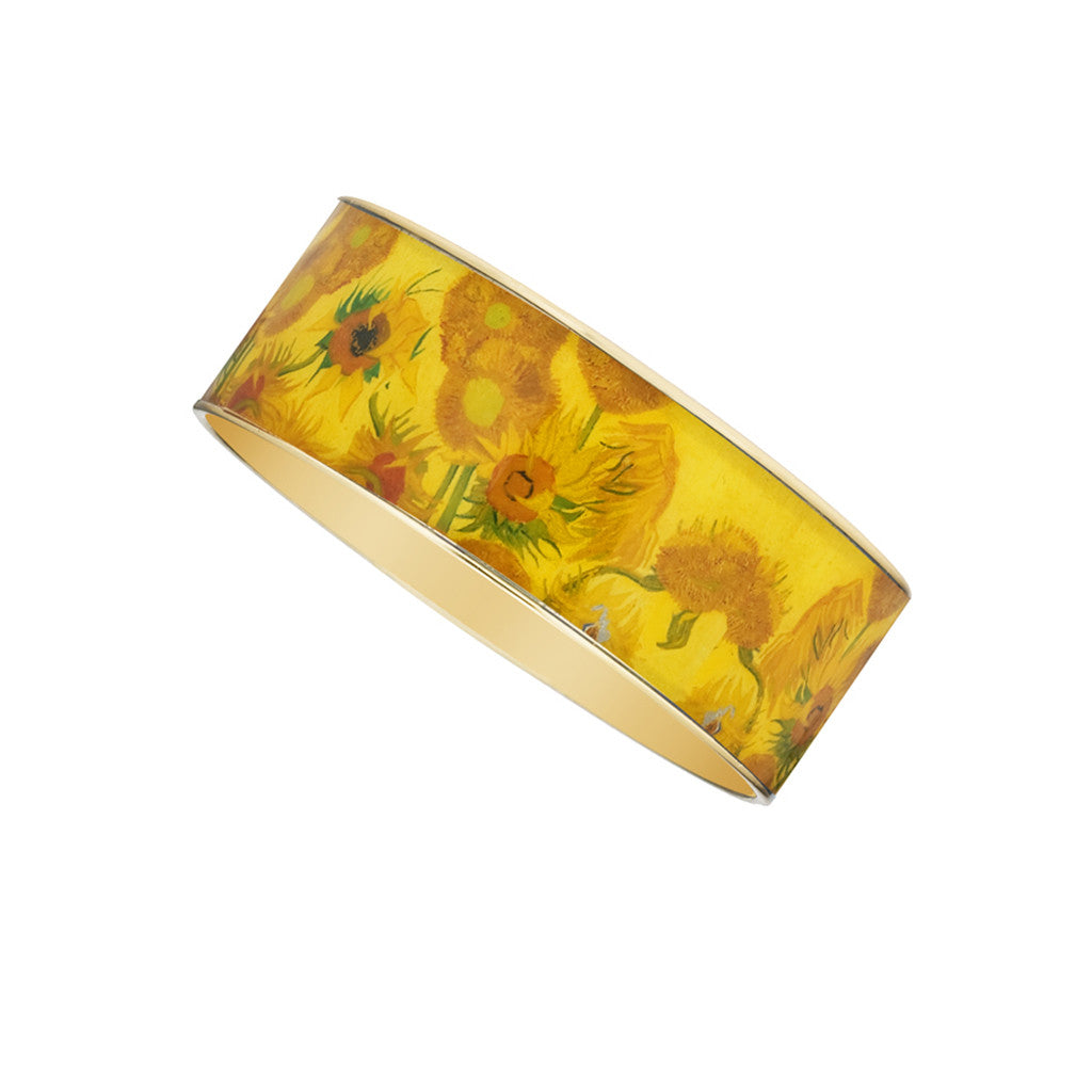 Van Gogh Sunflowers Goldtone Bangle Bracelet 1""