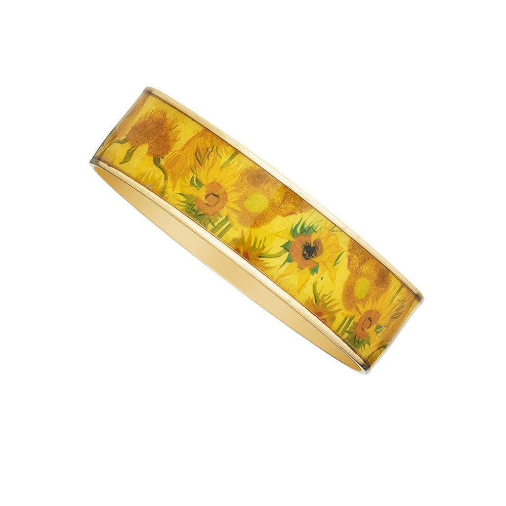 Van Gogh Sunflowers Goldtone Bangle Bracelet 3/4""