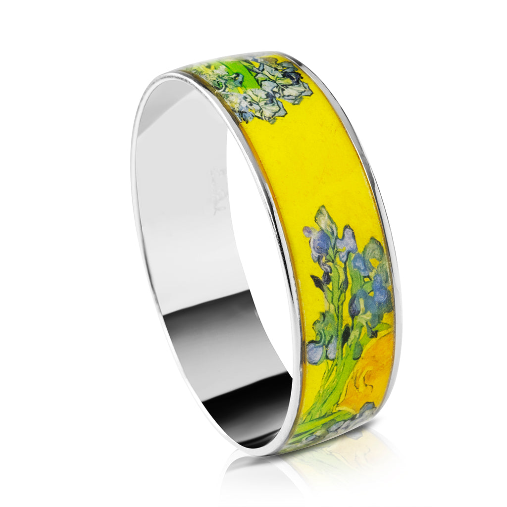 Van Gogh Silvertone Irises Bangle Bracelet 3/4""