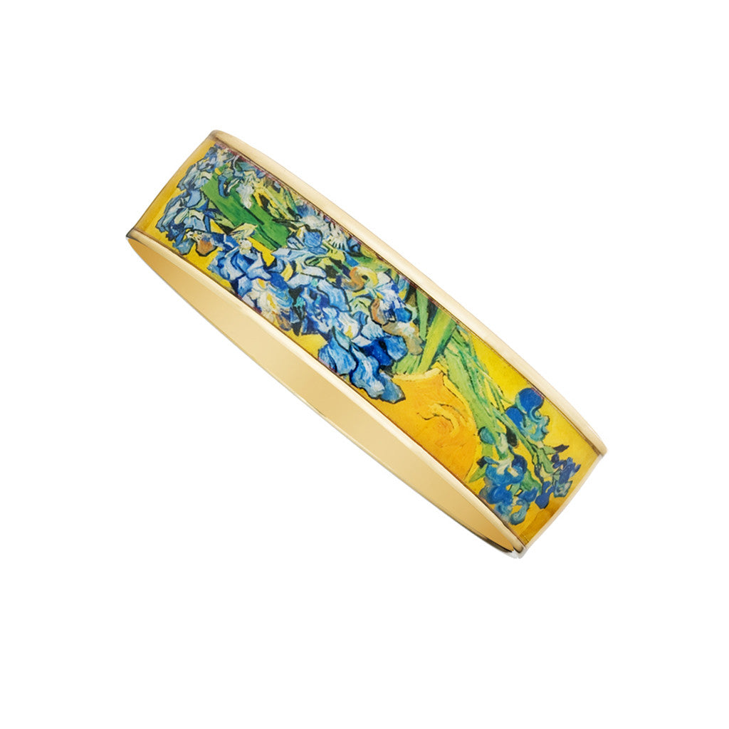 "Van Gogh Irises Bangle Bracelet 3/4"" Goldtone"
