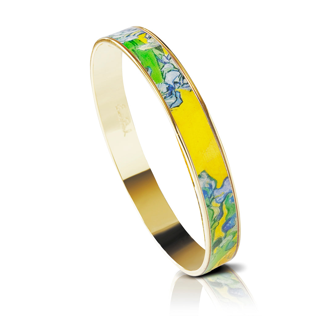 Van Gogh Irises Bangle Bracelet Goldtone 3/8""