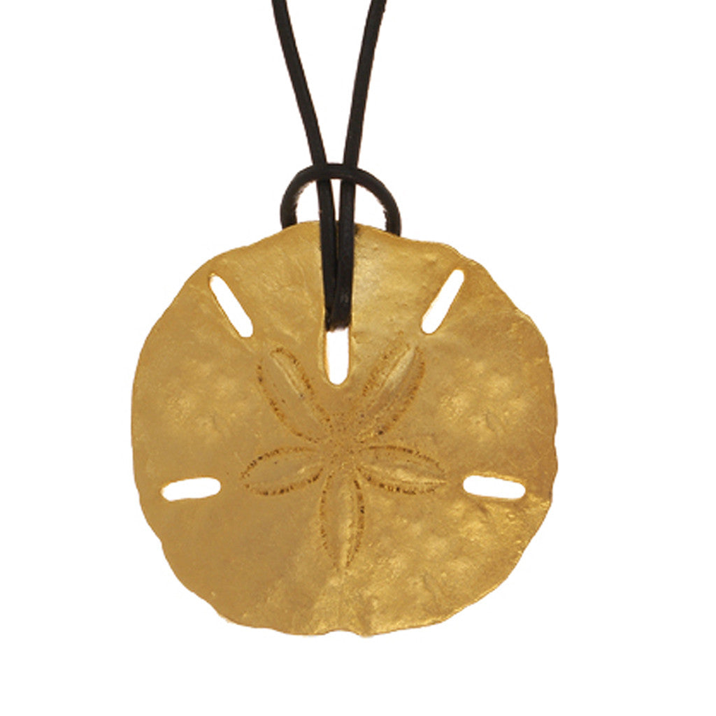 Sand Dollar Extra Large Disc On Leather Necklace