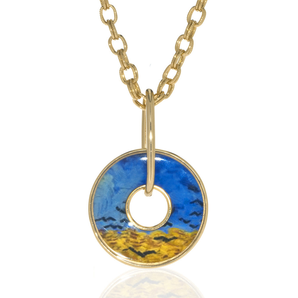 Van Gogh Wheatfield with Crows Disc Necklace