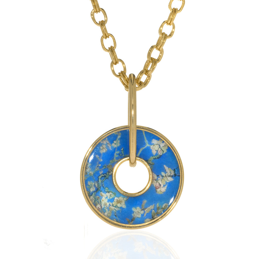 Van Gogh Almond Blossoms Disc Necklace