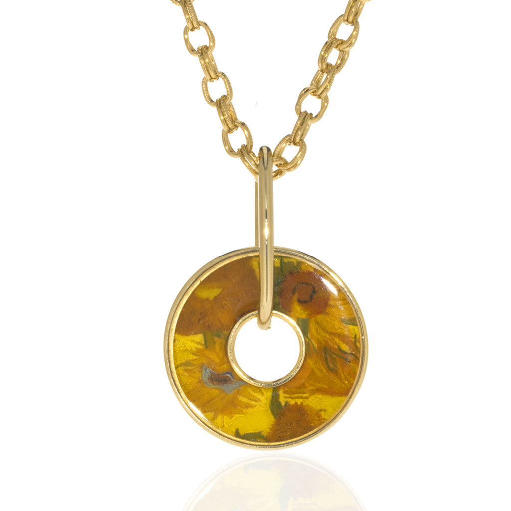 Van Gogh Sunflowers Disc Necklace