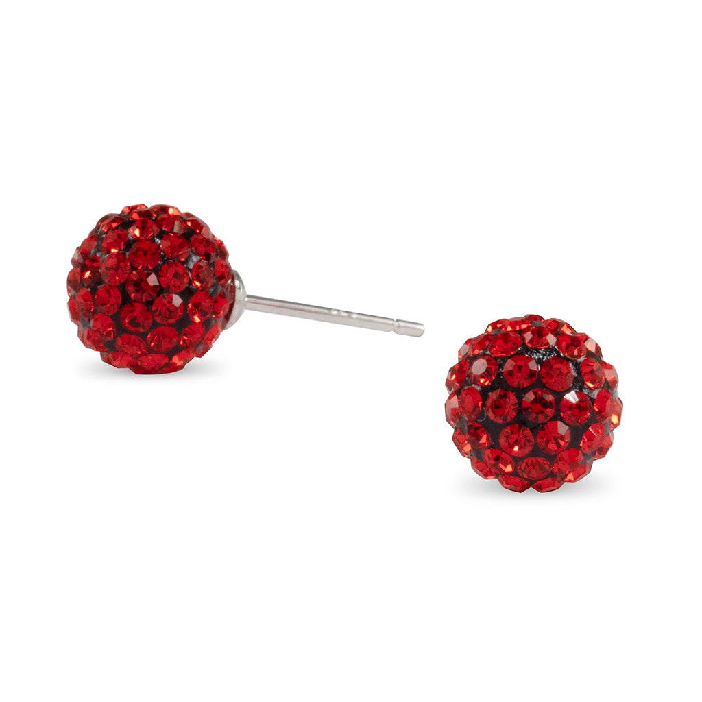 Red Crystal Ball Stud Earrings
