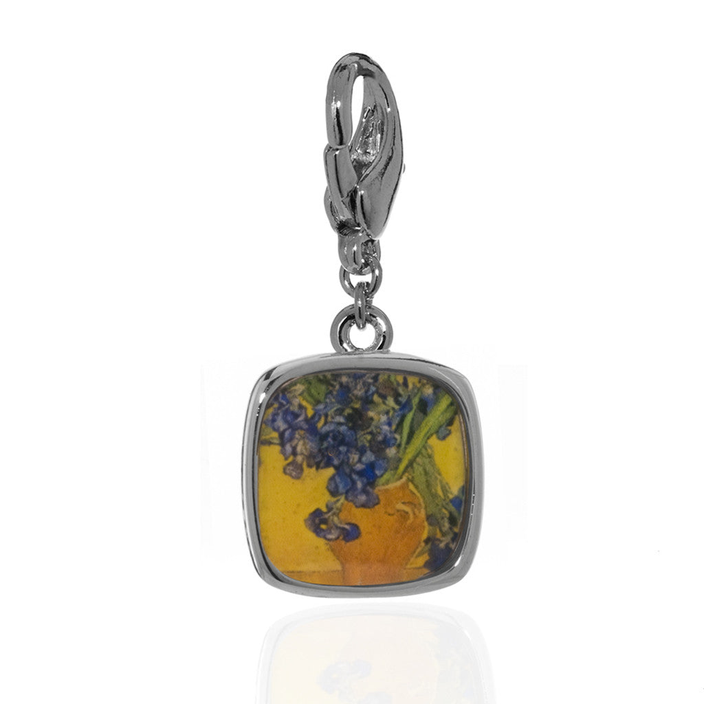 Van Gogh Irises Charm Lobster Claw