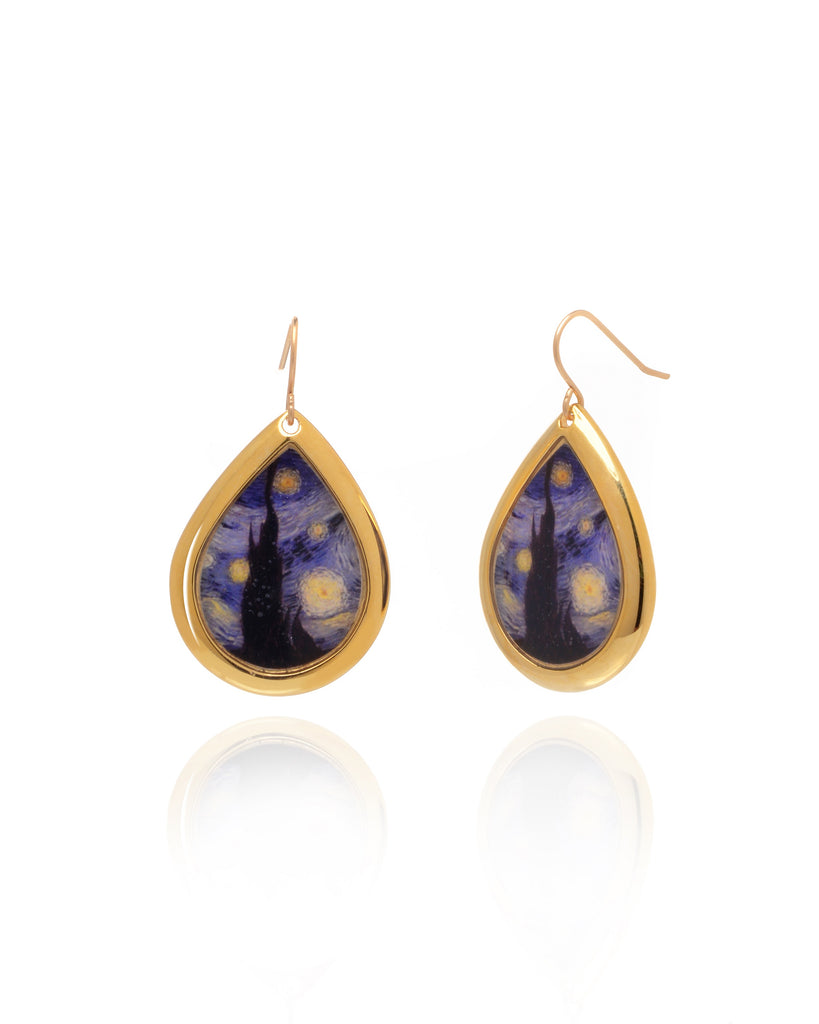 NEW Van Gogh 22k Gold Plated Starry Night Small Teardrop Earrings