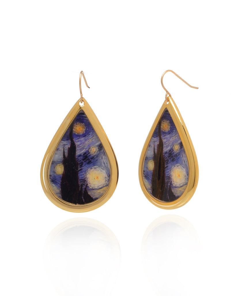 NEW Van Gogh 22k Gold Plated Starry night Large Teardrop Earrings