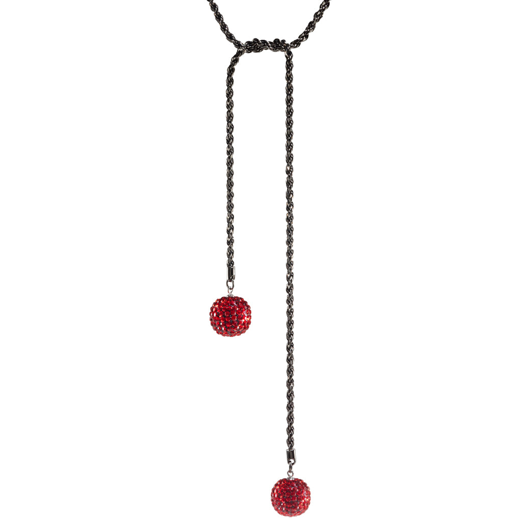 Sterling Silver Red Crystal Ball Rope Chain Necklace 34""