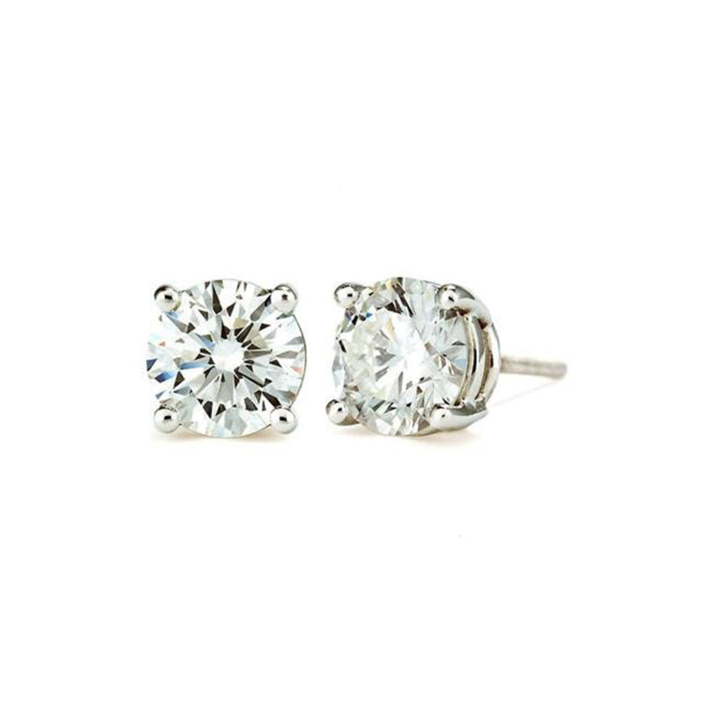 9 CT 14K White Gold Round Cut Stud Earring