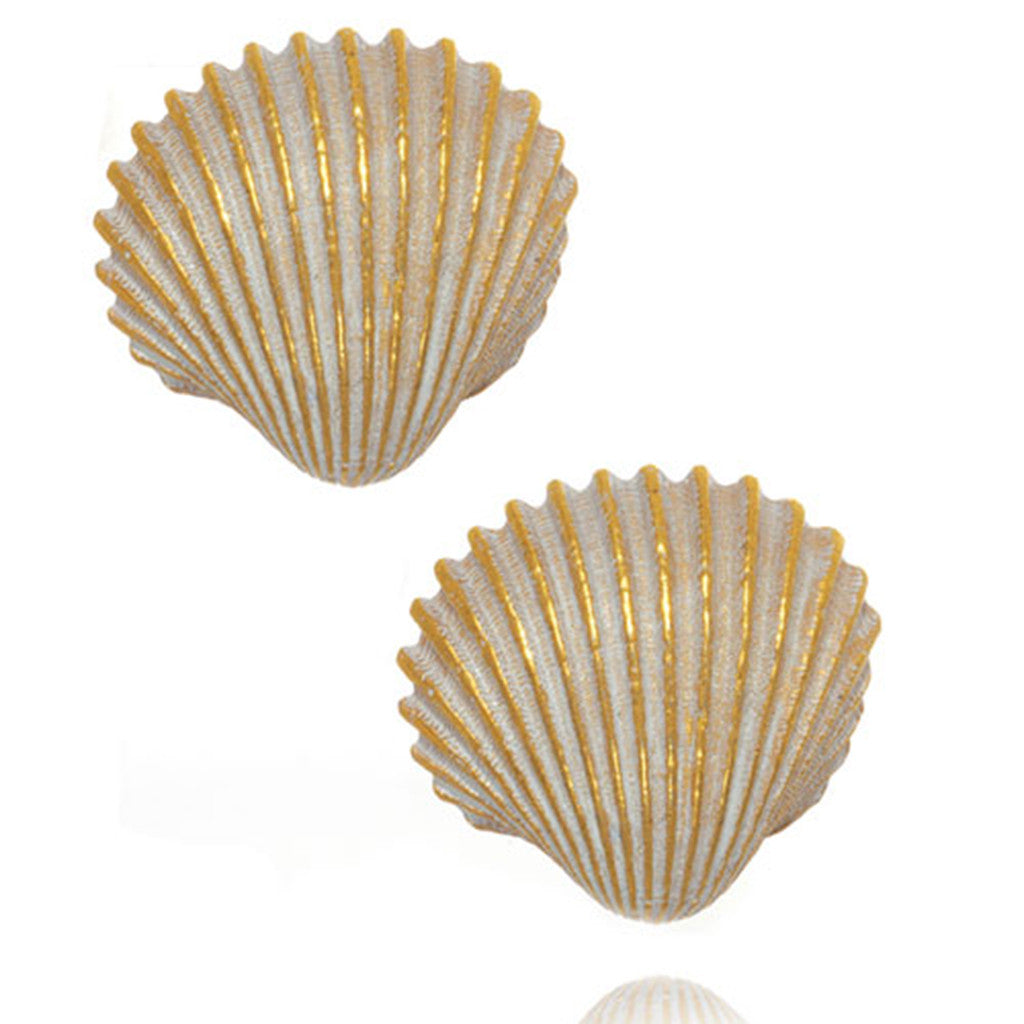 Goldtone Large White Enamel Shell Pierced Earrings