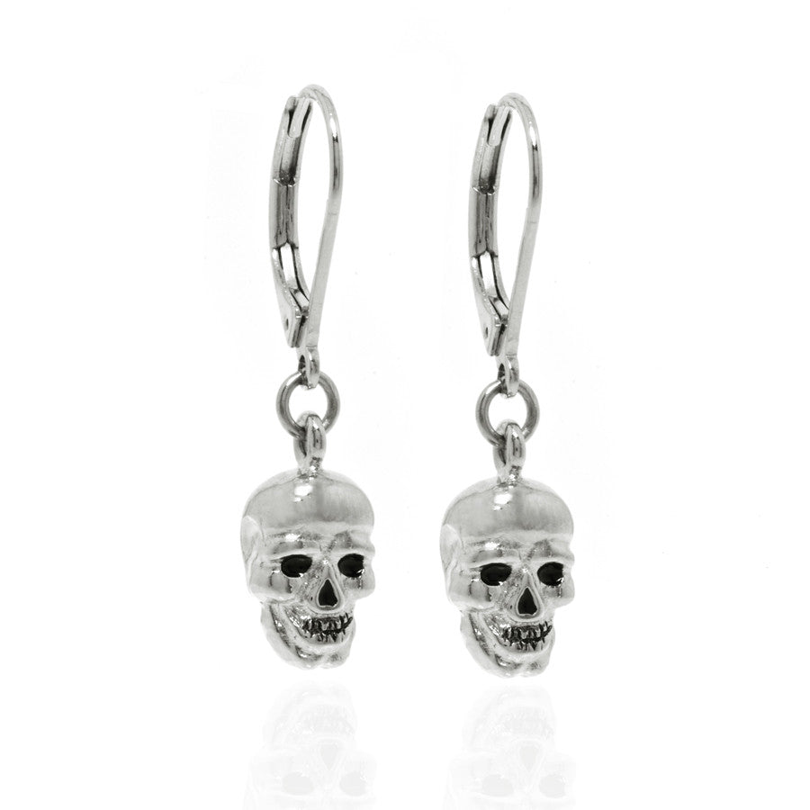 Silver Skull with Black Eyes Drop Earrings