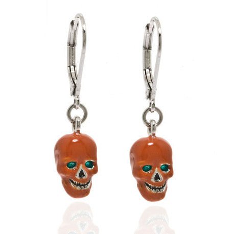 Rust Skull with Green Eyes Drop Earrings