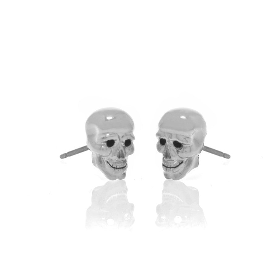 Lucky Skulls Silvertone Earrings