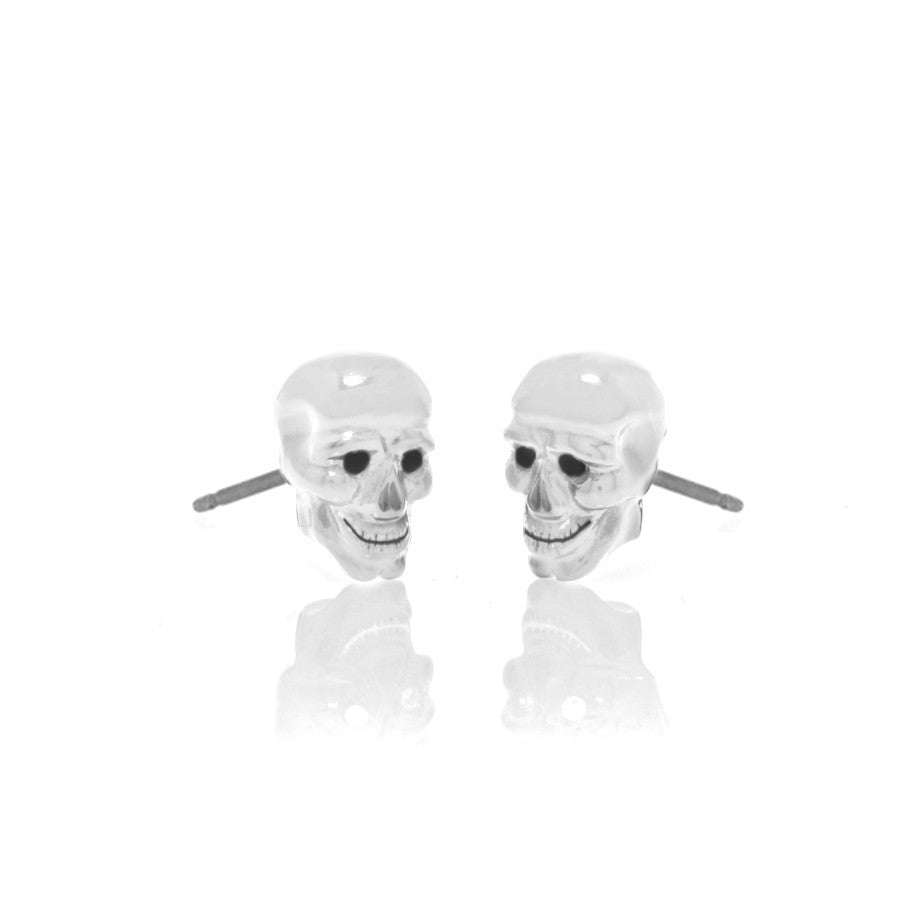 Lucky Skulls White Enamel Earrings