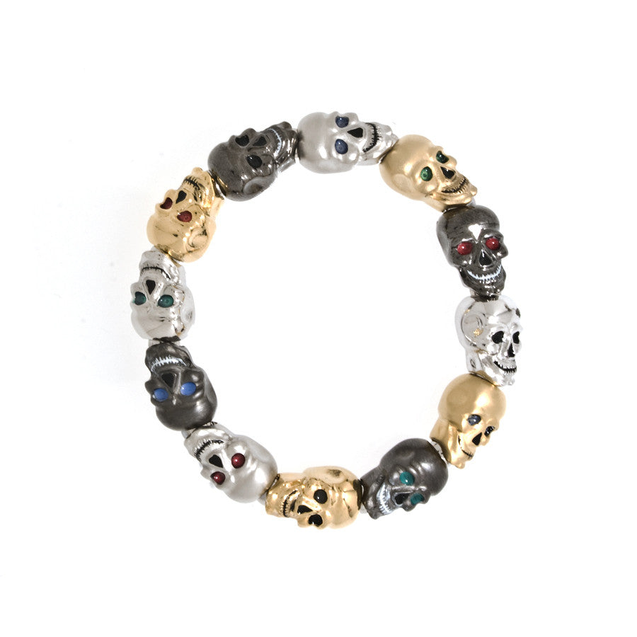 Multi-Color Lucky Skull Black Stretch Bracelet