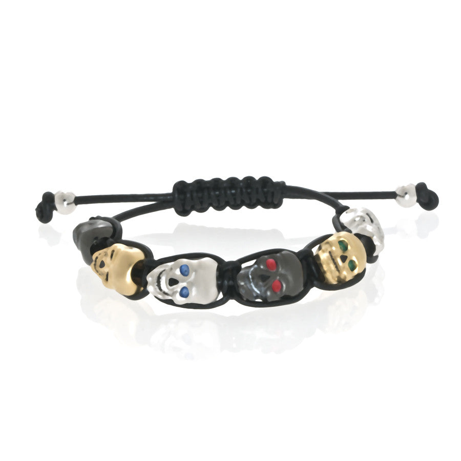 Multi-Color Lucky Skull Black Bracelet
