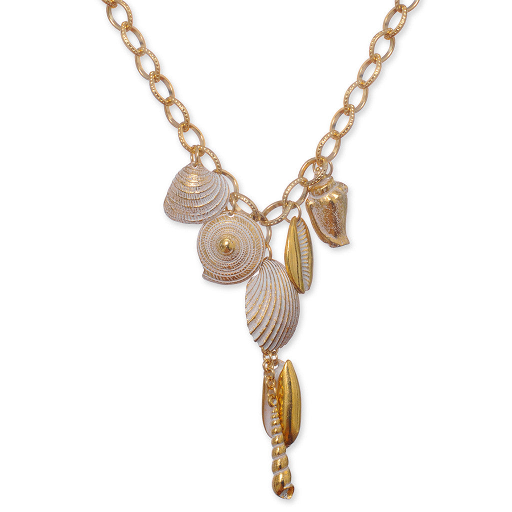 Goldtone White Enamel Mix Seashell Necklace