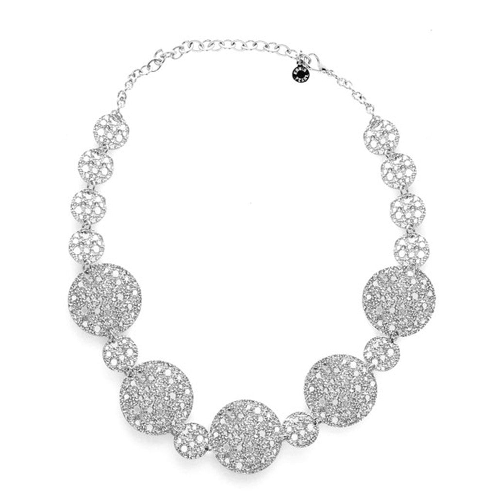 Silvertone Textured Disc Necklace